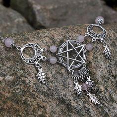 Natural Magick  Rose Quartz Pentagram Necklace by VixensDelight, $55.00