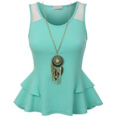 RubyK Womens Fitted Sleeveless Peplum Tank Top with Detachable... (£13) ❤ liked on Polyvore