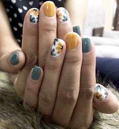 The best nail art designs for spring - romantic nail art, heart nail art designs, white nail art designs, heart tip nails , romantic nail - Heart Tip Nails, Heart Nail Art, Daisy Nail Art, Flower Nail Art, Nail Flowers, Yellow Nail Art, Colorful Nail Art, Blue Nail, Yellow Flowers