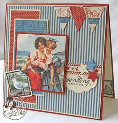 Love this July card by @Gloria Stengel. Click to see the tutorial! #graphic45 #cards #tutorials