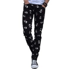 3cd2b7bc7 2017 Hot Skull Print Fashion Joggers Pants Men Sweatpants Trousers Elastic  Waist Tight Pencil Pants-in Casual Pants from Men s Clothing   Accessories  on ...