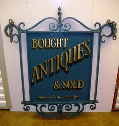 Early 20thC Antique Shop Cast Iron Sign