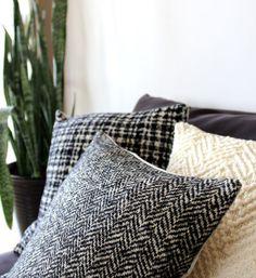 Herringbone pillow in luxury Italian wool black and by EarthLab