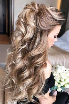 Wedding Hairstyles Half Up Half Down Easy To Do Half Up Hairstyles Blonde Highlights Down Curly Hairstyles, Wedding Hairstyles For Long Hair, Easy Hairstyles, Hairstyle Ideas, Hairstyles For Graduation, Hairstyles 2018, Graduation Hairstyles Half Up Half Down, Wedding Hair Blonde, Mother Of The Bride Hairstyles