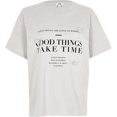 Grey 'good things' print brooch T-shirt