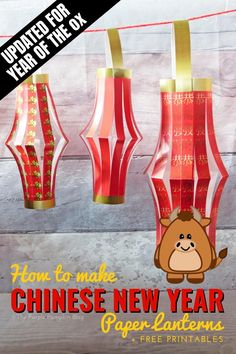 Free Printable Chinese New Year Paper Lanterns - Download and print this paper lantern template and make them and hang to decorate for Lunar and Chinese New Year. A video tutorial included too! New Year Printables, Party Printables, Templates Printable Free, Free Printables, Printable Crafts, Chinese Birthday, New Year's Crafts, Decor Crafts, Fun Crafts