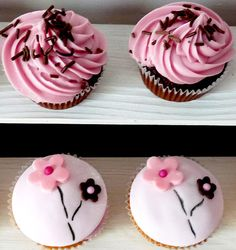 gorgeous cherry blossom cupcakes for a kokeshi party
