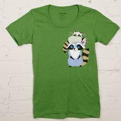 Raccoon Cap Women's Kelly Green Tee Shirt now featured on Fab. [GAMAGO]
