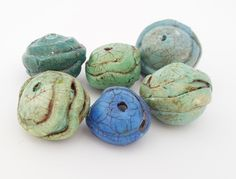 Polymer Clay Beads - 6 Handmade Blue Teal Green Textured Rounds - Hand Painted Rustic - Jewelry Necklace Bracelet Earring Beads - Blue Hutch by TheBlueHutch on Etsy https://www.etsy.com/listing/465986648/polymer-clay-beads-6-handmade-blue-teal