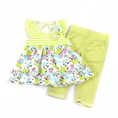 Baby girls 12 months lime green 2pc set pants and top infant sale B509