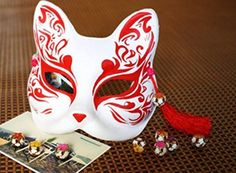 Buy Half Face Babymetal Hand-painted Paper Halloween Costume Carnival Party Fox Mask at online store Fox Halloween Costume, Happy Halloween, Kitsune Maske, Painted Paper, Hand Painted, Japanese Fox Mask, Mask Dance, Cool Masks, Cat Mask