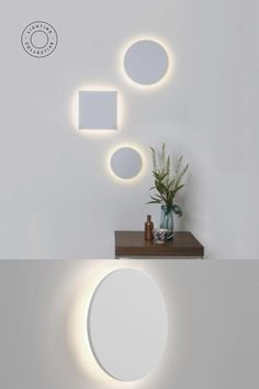 This minimalist design is created with a clean circular shape and when illuminated produces a striking lunar eclipse. This stunning effect adds a gentle glow to your wall and brings a feature to your living room, hallway or bedroom. Made from plaster this white LED wall light is the ideal choice for your contemporary and modern interior. Comes in two different sizes with different qualities and colour temperatures.   #walllight #minimallight #LED #interoprdesign #lightingcollective #interior