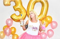 Talk thirty to me 30th birthday adult cake smash, gold and hot pink glitter tank top in glitter gold and hot pink!