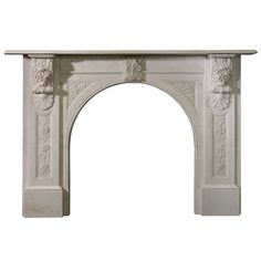 Circa 1845 Victorian Arch Statuary Marble Mantel  | From a unique collection of antique and modern fireplaces and mantels at https://www.1stdibs.com/furniture/building-garden/fireplaces-mantels/