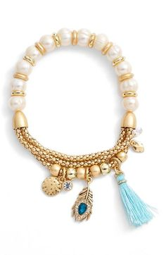 LONNA & LILLY Beaded Stretch Bracelet available at #Nordstrom