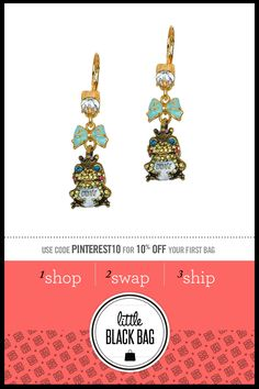 Betsey Johnson Frog Drop Earrings from LittleBlackBag.com  ::Green:: Earrings:: Frog