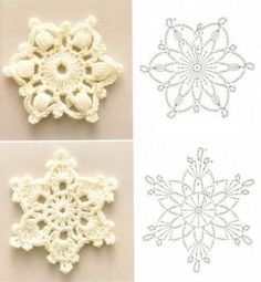 雪の結晶のモチーフの編み方。1つ編んで、バッグや服に縫いつけたり、たくさん編んでモチーフつなぎにするのもいいですね。