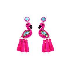 Summer Beaded Earrings By Viv & Lou Beaded Earrings, Statement Earrings, Flamingo, Tassels, Vibrant, Detail, Summer, Handmade, Bright