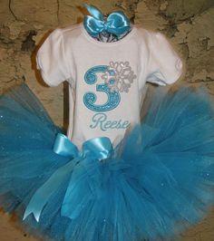 Frozen Queen Elsa birthday Princess tutu outfit Blue Sparkle Custom Boutique…