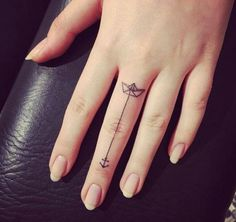 If you've been thinking about getting a tattoo, but are keen to opt for something subtle, small or tiny, then a delicate finger tattoo could be just for you. Finger tattoos are super adorable and beautiful on its own. Finger tattoos are fun to conc Finger Tattoo Designs, Anchor Finger Tattoos, Tattoo Am Finger, Flower Finger Tattoos, Finger Tattoo For Women, Small Finger Tattoos, Small Tattoos For Guys, Tattoos For Women, Hand Tattoo Small