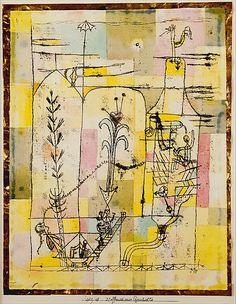 Tale à la Hoffmann/Paul Klee Date: 1921 Medium: Watercolor, graphite, and transferred printing ink on paper, bordered with metallic foil Dimensions: H. 12-1/4, W. 9-1/2 inches (31.1 x 24.1 cm.) Classification: Drawings Credit Line: The Berggruen Klee Collection, 1984 Accession Number: 1984.315.26