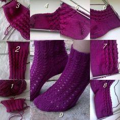 1.Naberieme si požadovaný počet očiek. Pletieme patentovým vzorom, očká sú rozdelené na štyri ihlice.Ďalej pletieme do kruhu. 2.Pletieme až kým nedosiahneme požadovanú dĺžku po pätu.Ďalej bud... High Socks, Knitting, Fashion, Moda, Tricot, Fashion Styles, Stockings, Cast On Knitting, Stricken