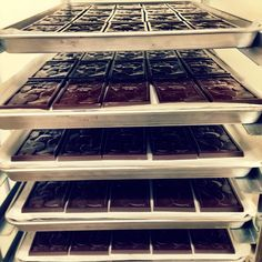 Bars waiting patiently to be wrapped #hogarthchocolate #beantobar