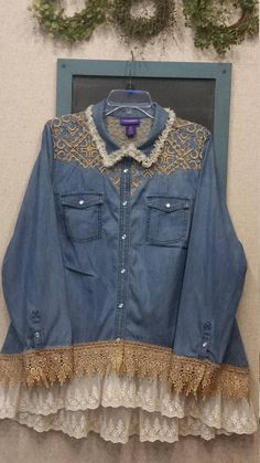 Check out this item in my Etsy shop https://www.etsy.com/listing/548308750/upcycled-denim-blouse-romantic-lace