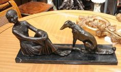 Art Deco Bronze Figurine Statue Greyhound Dog +