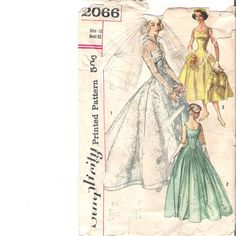 Vintage 1950s Wedding Gown Pattern Simplicity 2066