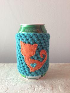 Orange Cat Cozy in Aqua for a Cat Lover, Crochet Beer Coozie, Reusable Crochet…