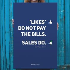 Likes Don't Pay the Bills Poster. Museum quality poster. Thick, durable, matte perfection, shouting out your message. What it means:That's great if people like your product. But today people like many things… It's really easy - hit a button and you're done. So don't try to create another thing to like. Try to create THE thing people choose to buy. Please allow 1-2 weeks for shipping.