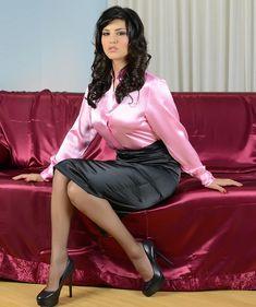Black Satin Pencil Skirt Pink Satin Blouse Sheer Black Pantyhose and Black Stiletto High Heels