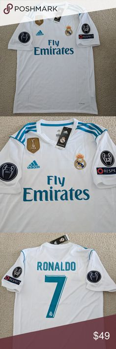 Ronaldo Real Madrid Home Champions League Jersey Real Madrid Home Champions League Jersey Ronaldo Champions League Climacool Slim fit. Printed badges on adidas and Real Madrid logo. Logo Adidas, Adidas Shirt, Adidas Men, Ronaldo 7 Real Madrid, Ronaldo Real, Ronaldo Shirt, Ronaldo Jersey, Ronaldo Champions League, Real Madrid Logo
