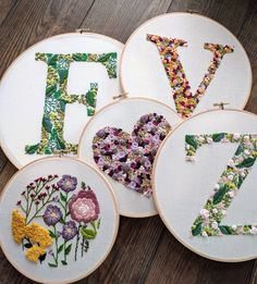 Inspiring solutions that we seriously like! Hand Embroidery Letters, Modern Embroidery, Hand Embroidery Designs, Ribbon Embroidery, Embroidery Art, Cross Stitch Embroidery, Embroidery Patterns, Floral Letters, Monogram Letters