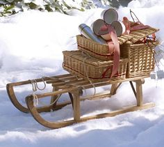 Christmas: Outdoor Decorations // PB Found Wood Sled | Pottery Barn