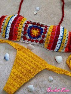 Crochet bikini Crochet swimwear Crochet bathing suit by MarryG Crochet Lingerie, Crochet Bra, Crochet Bikini Top, Crochet Woman, Love Crochet, Crochet Granny, Crochet Clothes, Crochet Designs, Crochet Patterns