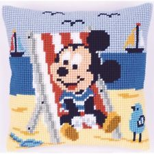 "Vervaco MICKEY IN BEACH CHAIR Chunky Cross Stitch Cushion Front Kit 16"" x 16"""
