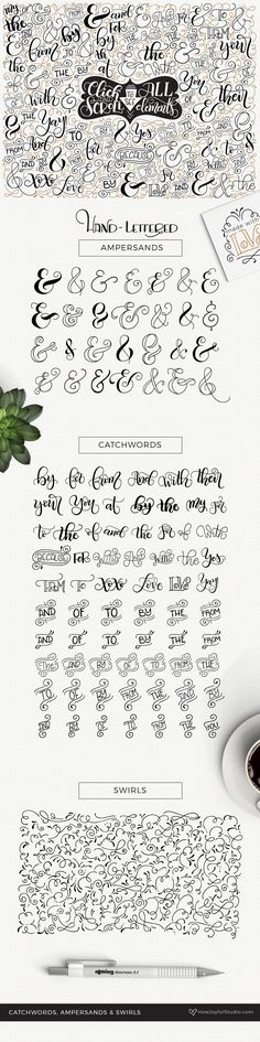Catchwords, ampersands & swirls by howjoyful on @creativemarket