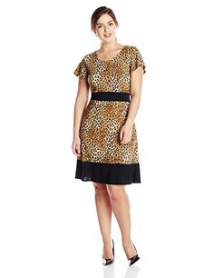 Star Vixen Womens PlusSize Short Sleeve Colorblock Skater Dress Brown Leopard Black 2X >>> Details can be found by clicking on the image.
