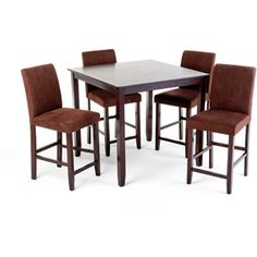 Imagio Home 5 Piece Loft Gathering Height Dining Set, Java with Microfiber Stools