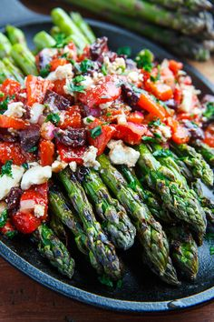 ... Asparagus with Marinated Roasted Red Peppers, Feta and Kalamata Olives
