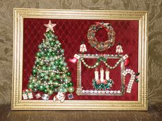 Picture Only Vintage Jewelry Christmas Tree & Fireplace Scene Christmas Tree And Fireplace, Christmas Tree Art, Christmas Jewelry, Christmas Decorations, Vintage Christmas, Costume Jewelry Crafts, Vintage Jewelry Crafts, Christmas Projects, Holiday Crafts