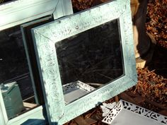 Mirror, Acanthus Leaf, Painted Mirror, Aqua Blue, Vintage Mirror, Carved Look Frame, Cottage Chic, Beach, Distressed, Shabby Chic, CasaKarma by CasaKarmaDecor, $47.75 USD