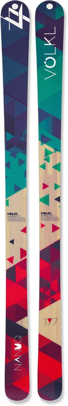 The Volkl Nanuq telemark/randonee skis feature a shape of 131/96/114 and rockered tips for a forgiving ride no matter what the snow conditions are.