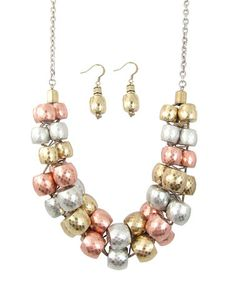 Silver & Gold Be A Dahlia Won't You Necklace & Earrings by LOLO by New Dimensions #zulily #zulilyfinds