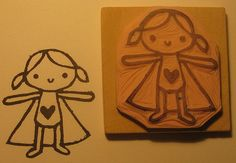 Girl Superhero - Hand Carved Rubber Stamp Idea