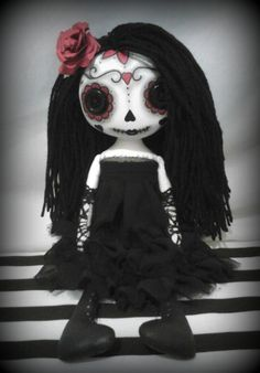 Day Of The Dead Art Rag Doll Rosa RESERVED for by ChamberOfDolls