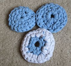Set of 6 handcrafted crocheted coasters, blues, white by WalkingWiccan on Etsy