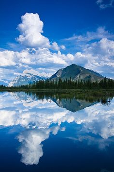 Sulphur Mountain and Mount Rundle reflected in the Third Vermillion Lake. Banff National Park, Alberta, Canada
